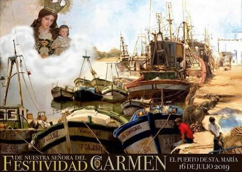 Horario e Itinerario Procesiones Terrestre y Marinera de la Virgen del Carmen. El Puerto de Santa María 16 de Julio del 2019