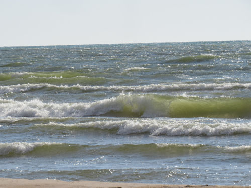 green waves on Lake Michigan