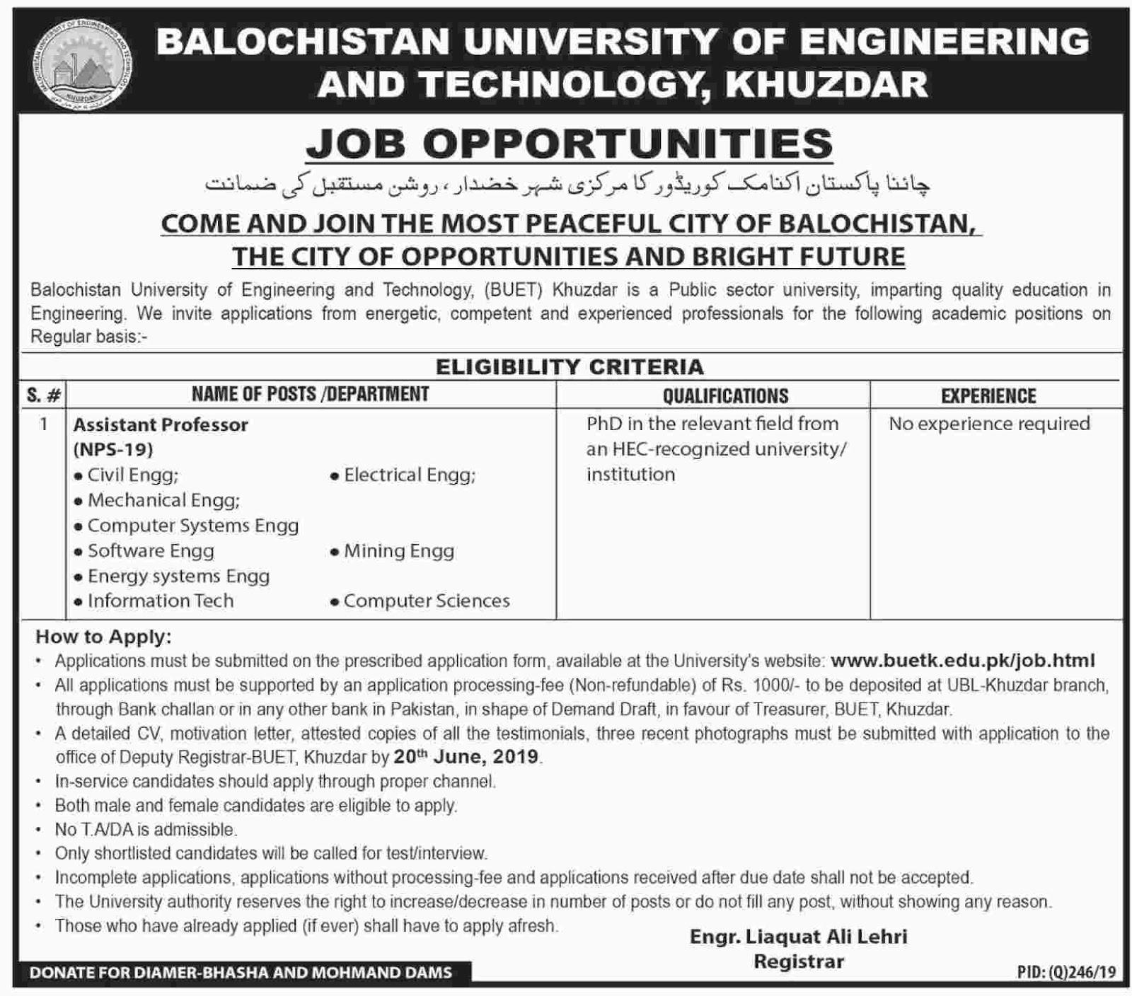 Latest Vacancies in Balochistan University of Engineering and Technolgy, Khuzdar 12 June 2019