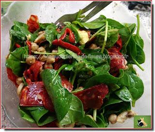 Vie quotidienne de FLaure : Salade de pousses d'épinards au chorizo et pois chiche