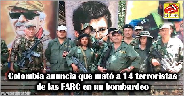 Colombia anuncia que mató a 14 terroristas de las FARC en un bombardeo