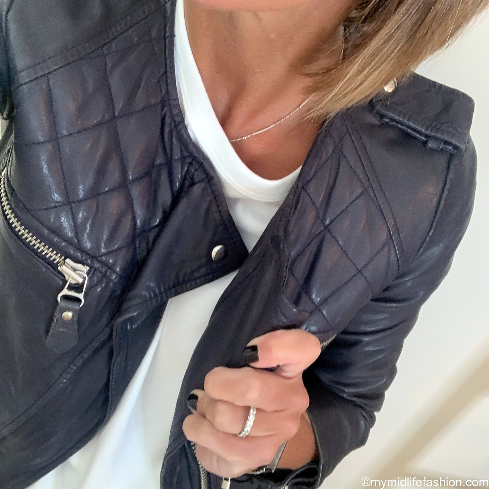 my midlife fashion, Isabel Marant Etoile leather jacket, golden goose superstar low top leather trainers, Joseph perfect logo embroidered cotton jersey t shirt, j crew high rise slim boyfriend eco jean with tall cuff