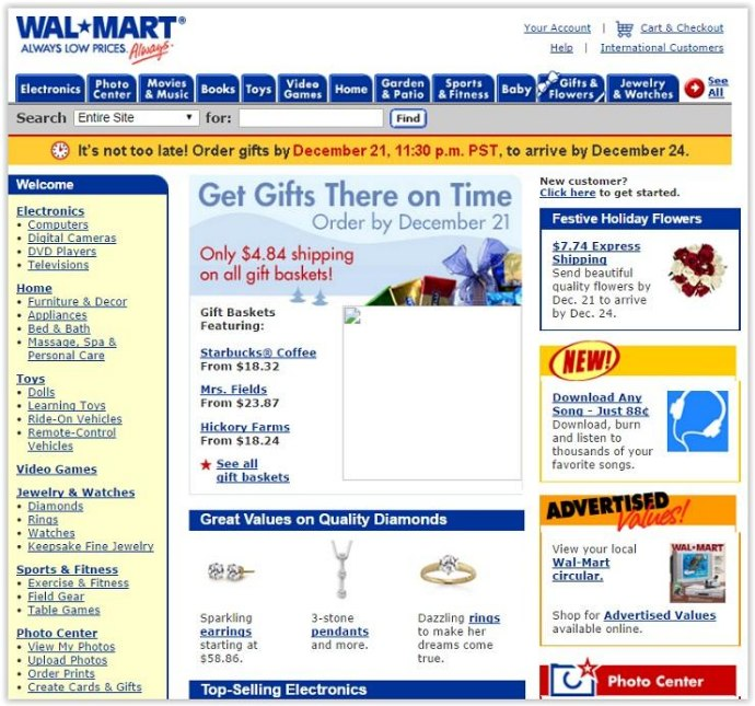 The Evolution of Websites: How popular websites used to look - Wal Mart