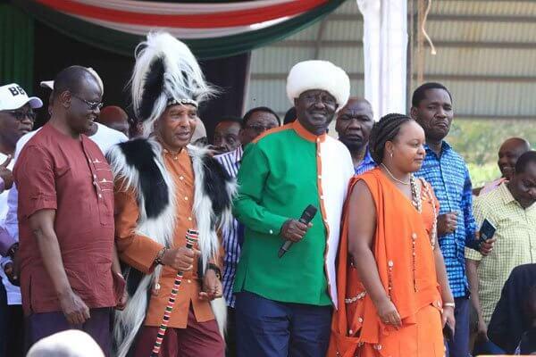 ODM leader Raila Odinga with Mt. Governors at Kinoru BBI rally, Meru. PHOTO | NMG