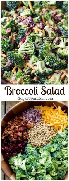 A simple broccoli salad made with bacon, cranberries, and other simple add-ins!