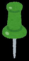 画鋲のイラスト(緑)