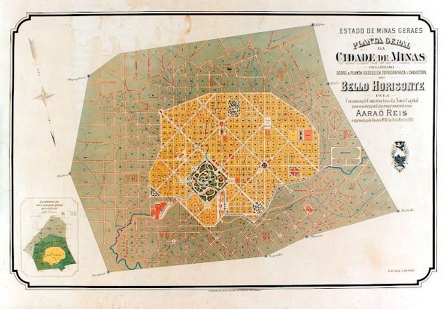 Mapa da Belo Horizonte planejada no século XIX