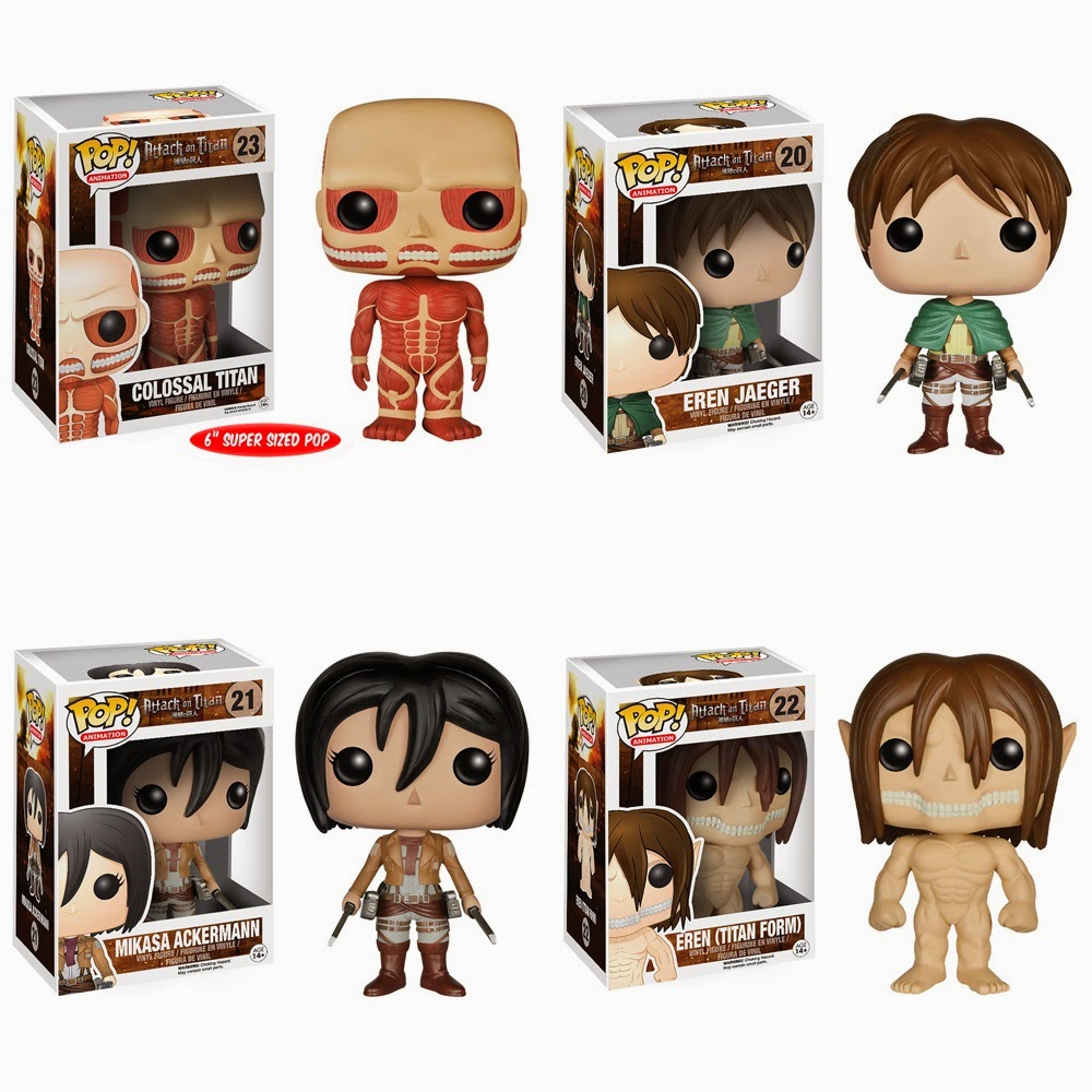 Attack on Titan Pop! Vinyl Figures by Funko - Colossal Titan, Eren Jaeger, Mikasa Ackerman & Eren Jaeger Titan Form