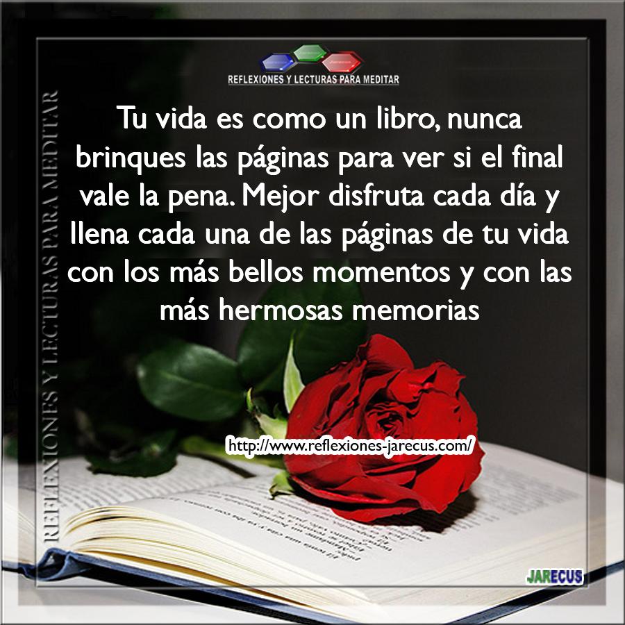 Tu vida es como un libro, nunca brinques las páginas para ver si el final vale la pena.  Mejor disfruta cada día y llena cada una de las páginas de tu vida con los más bellos momentos y con las más hermosas memoria.