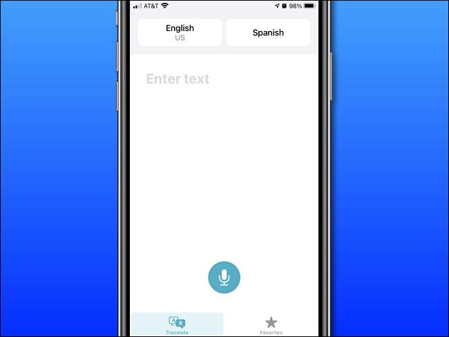 شاشة الإدخال الأساسية لـ Apple Translate على iPhone