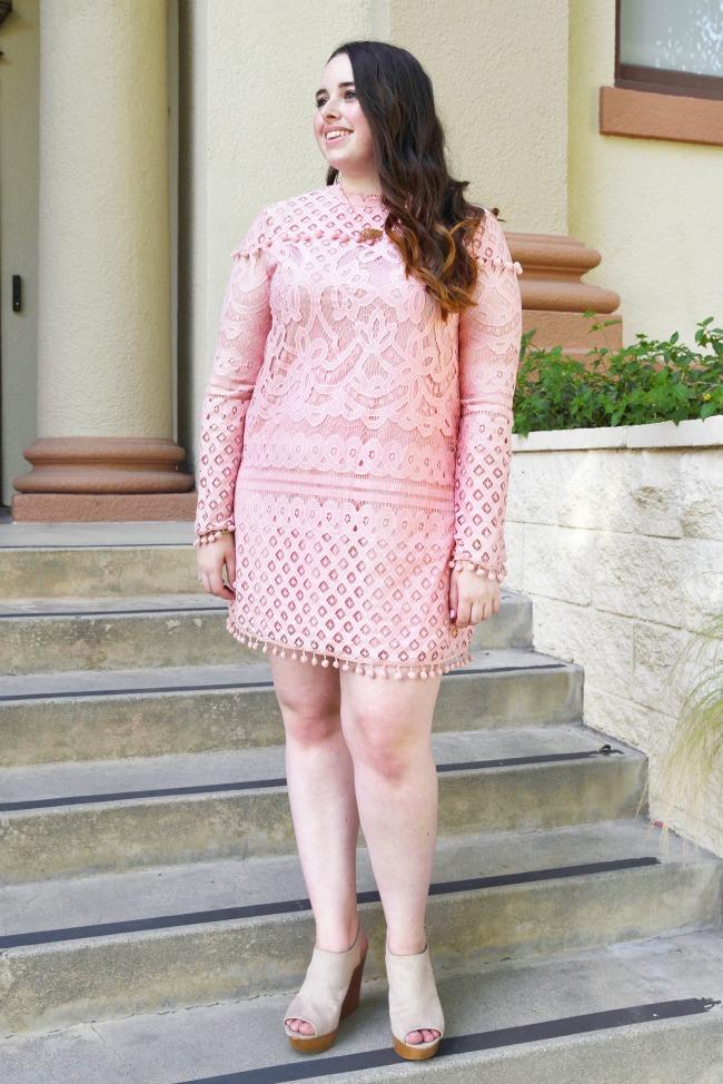825f64526e75 The Classic Brunette  Pink Lace Pom Pom Dress