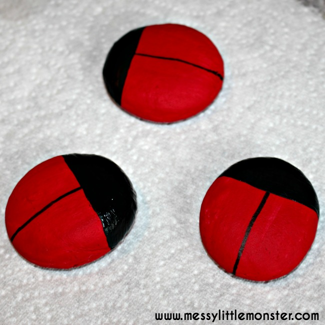 Salt dough craft ideas.  Fingerprint ladybird keepsake for kids.
