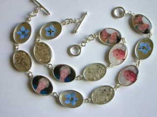 Sterling silver bracelets with ashes, photos and flowers