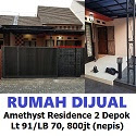 Dijual Rumah Amethyst Residence 2 Mekarsari Depok Lt 91/LB 70, 800jt