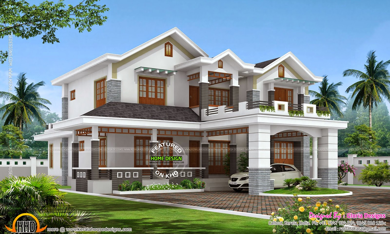 Double Storied Sloped Roof House Kerala Home Design And
