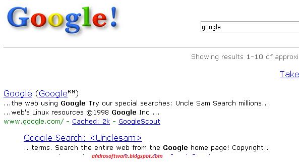 gambar fitur unik tampilan google tahun 1998