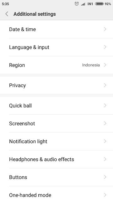 a Pengaturan Tambahan di android