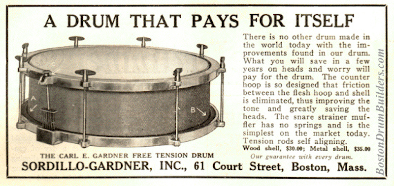 1922 Carl E. Gardner Free Tension Drum advertisement