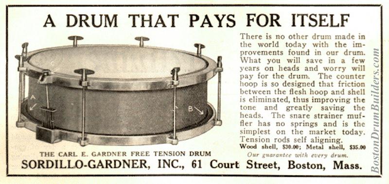 1922 Carl E. Gardner Free Tension Drum advertisement