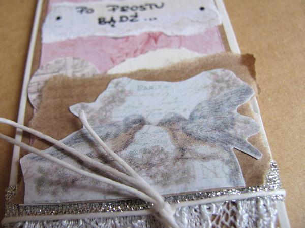 #025 Szary papier, koronka, srebrna wstążka - #Tagi2013