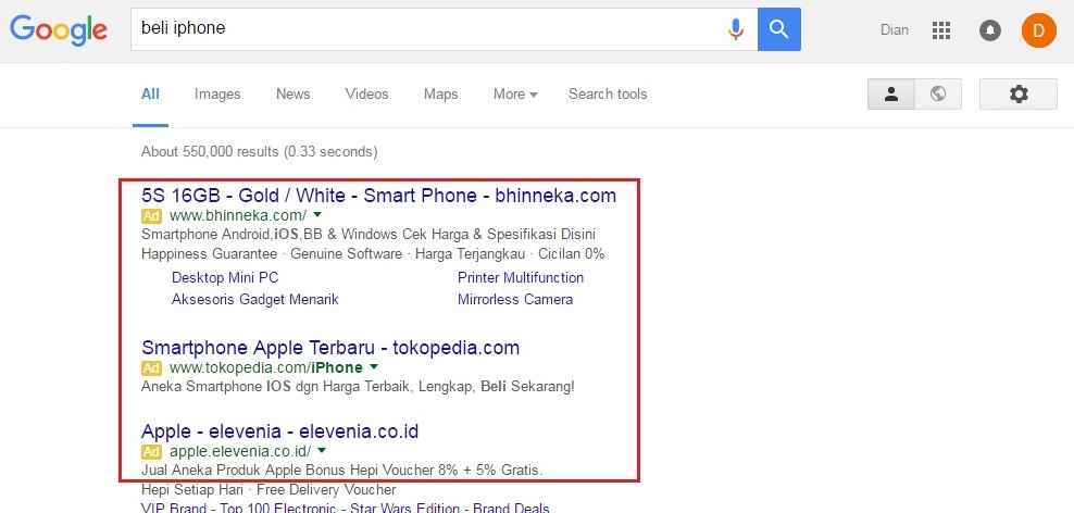 iklan teks google adwords