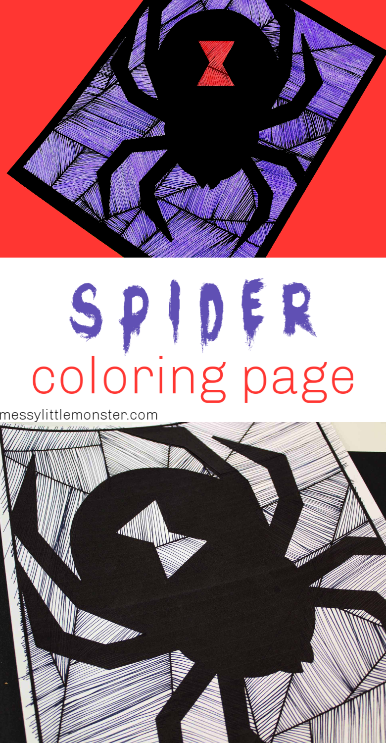 Black widow spider coloring page. Easy spider craft for kids.