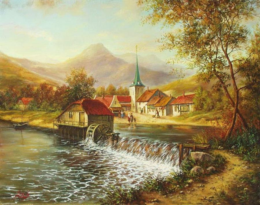 Cuadros modernos pinturas y dibujos nuevos paisajes del - Paisajes de casas de campo ...