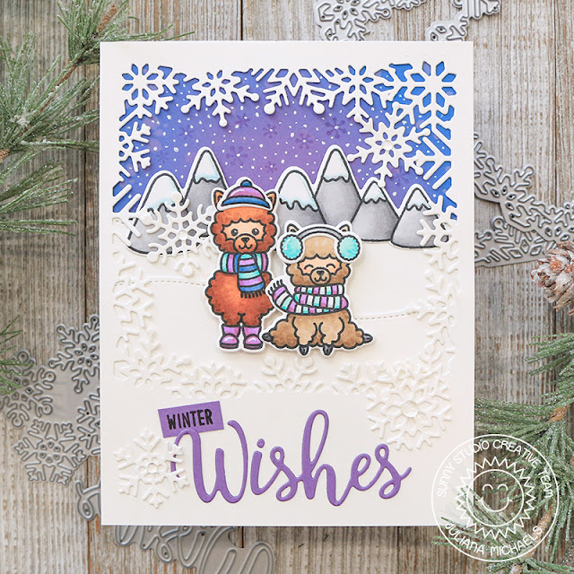 Sunny Studio Stamps: Alpaca Holiday Layered Snowflake Frame Dies Winter Wishes Card by Juliana Michaels