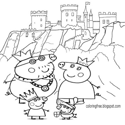 Royal family easy cartoon Peppa pig King and Queen printable colouring book pages for kids to colour