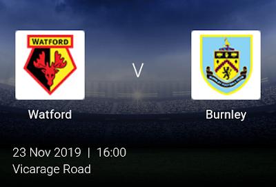 LIVE MATCH: Watford Vs Burnley Premier League 23/11/2019