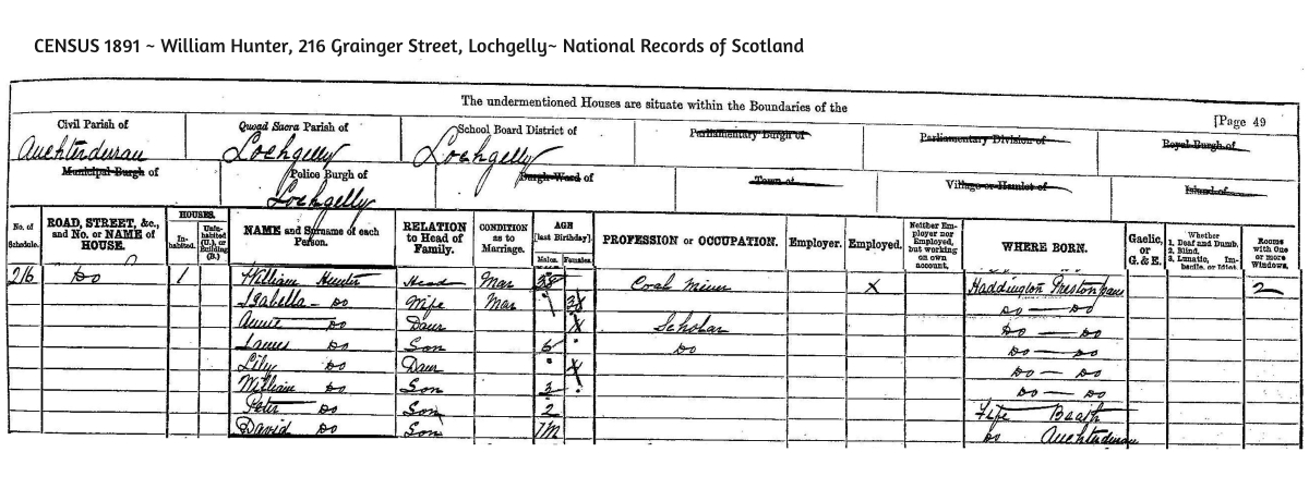 Census 1891 216 Grainger Street Lochgelly Fife