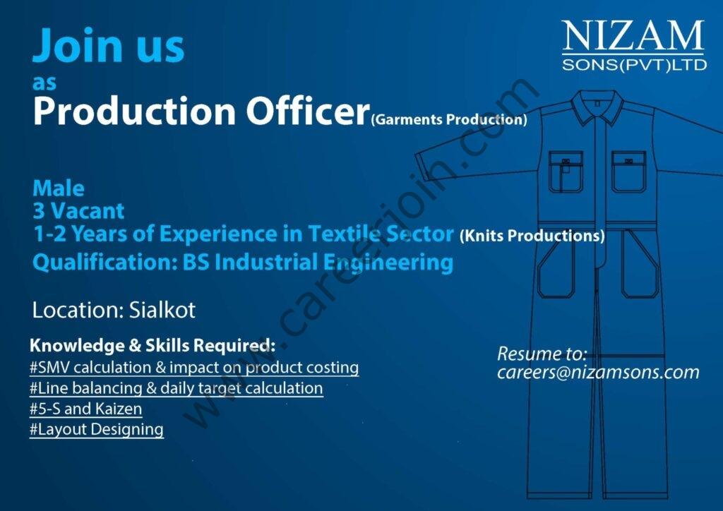Nizam Sons Pvt Ltd Jobs 2021 in Pakistan