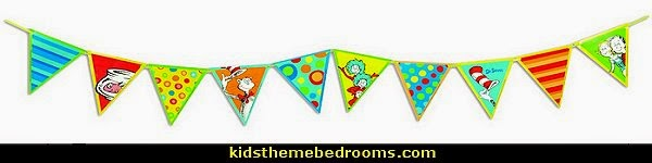 Dr. Seuss Pennant Banner  Dr. Seuss Cat In The Hat Dr Seuss bedroom dr seuss wall decorations