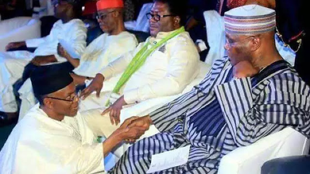 See Throwback Photos Of Governor El Rufai Kneeling Before Obasanjo, Atiku, Buhari and Oba Rilwan Akiolu