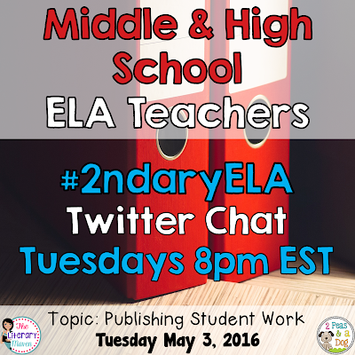 Join secondary English Language Arts teachers Tuesday evenings at 8 pm EST on Twitter. This week's chat will focus on publishing student work in the ELA classroom.