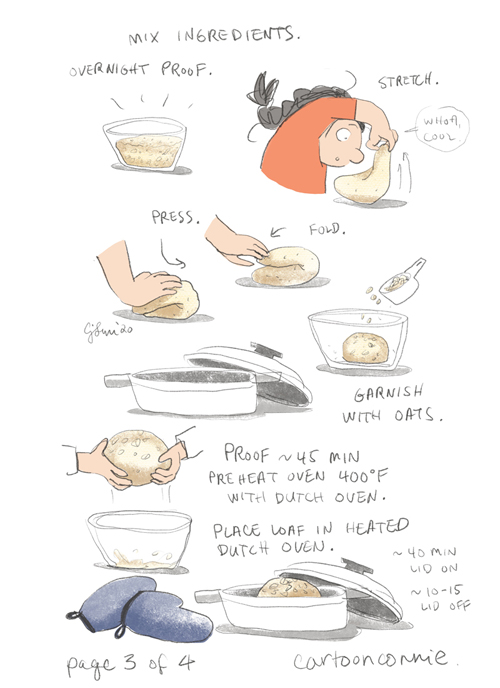 comic about self-care, self-love, and baking bread, by connie sun, cartoonconnie, illustration and comics