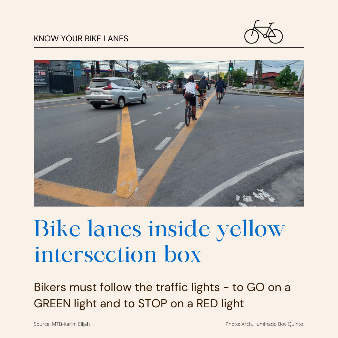 Bike Lanes Inside Yellow Intersection Box - Bikers must follow the traffic lights - to Go on a GREEN light and to STOP on a RED light
