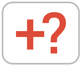 An orange plus sign and a question mark