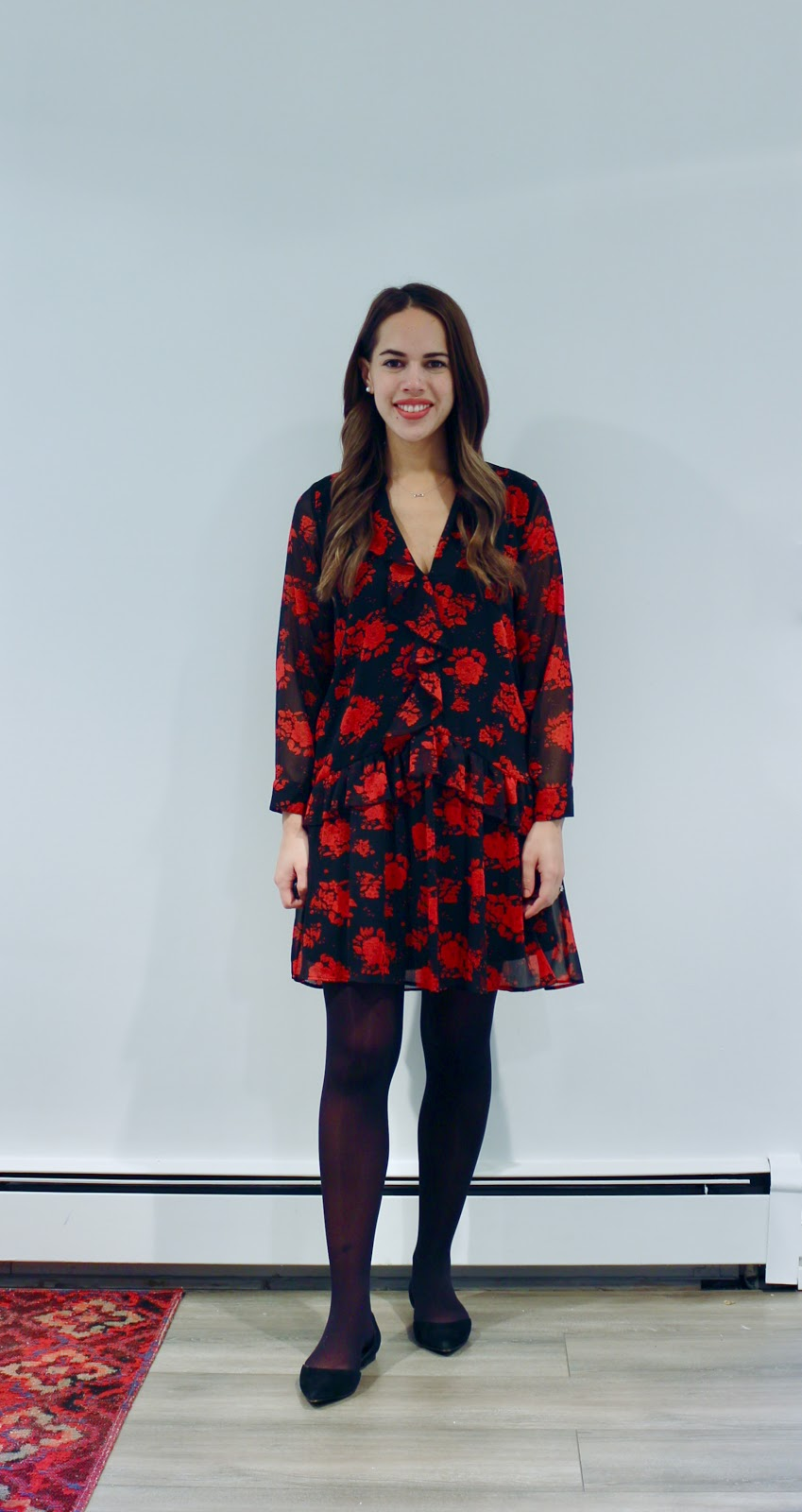 Jules in Flats - Zara Ruffle Mini Dress (Business Casual Fall Workwear on a Budget)