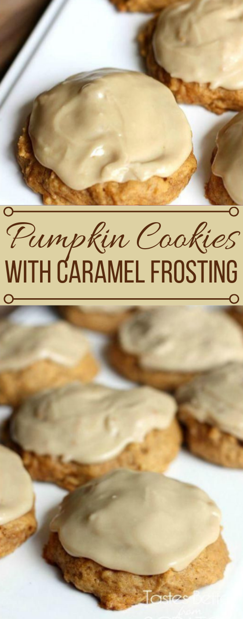 PUMPKIN COOKIES WITH CARAMEL FROSTING #caramel #pumpkin #desserts #pie #chocolate
