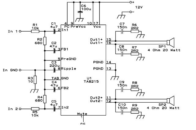 Skema Rangkaian power amplifier mobil 4 channel
