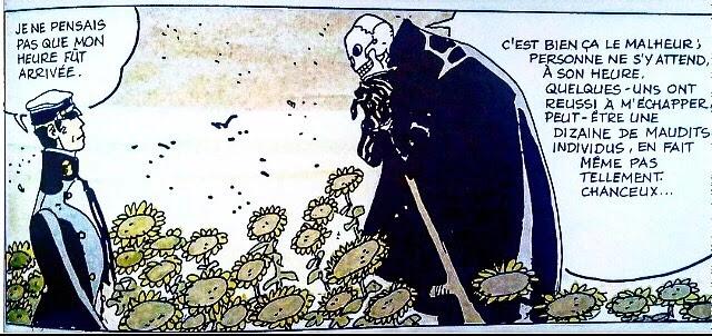 Corto et sa mort bavardent dans un champ de tournesols