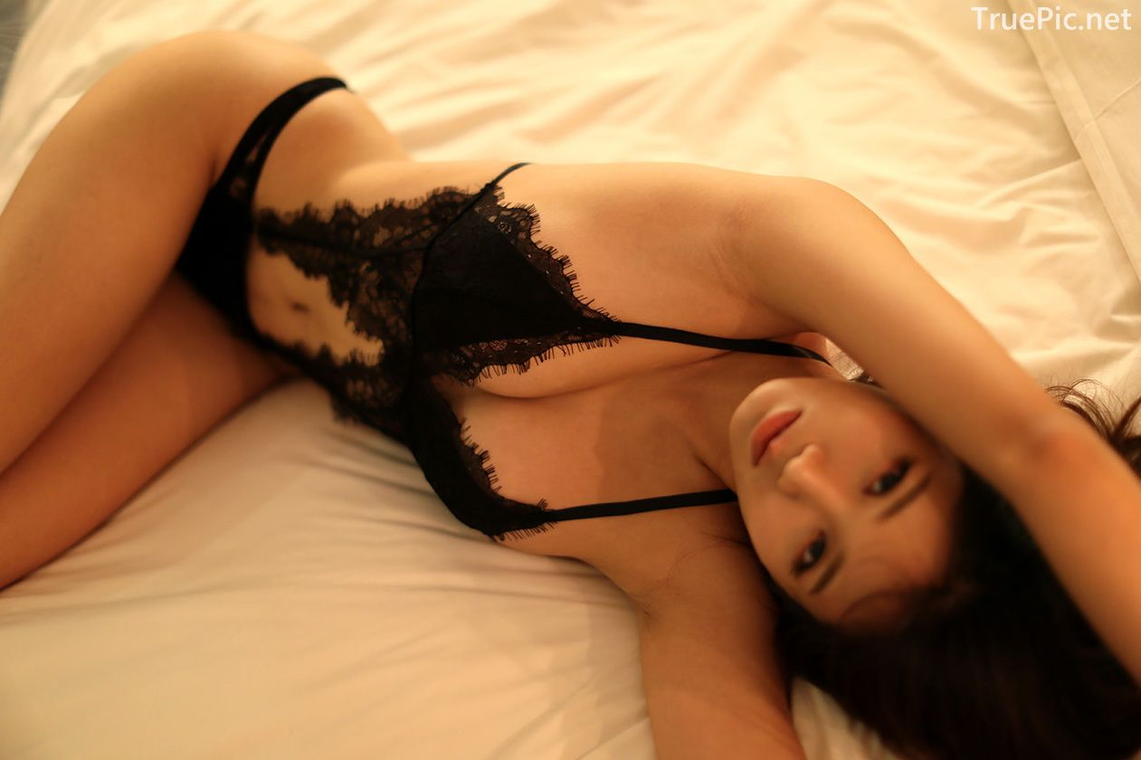 Lee Hee Eun - Bohemian lace black lingerie - Korean model and fashion - Picture 4