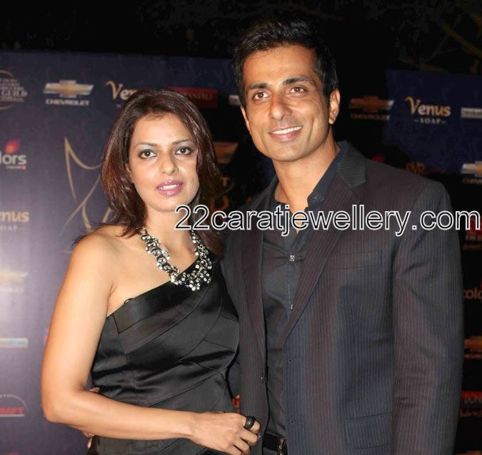 Sonu Sood Wife In Designer Necklace Jewellery Designs