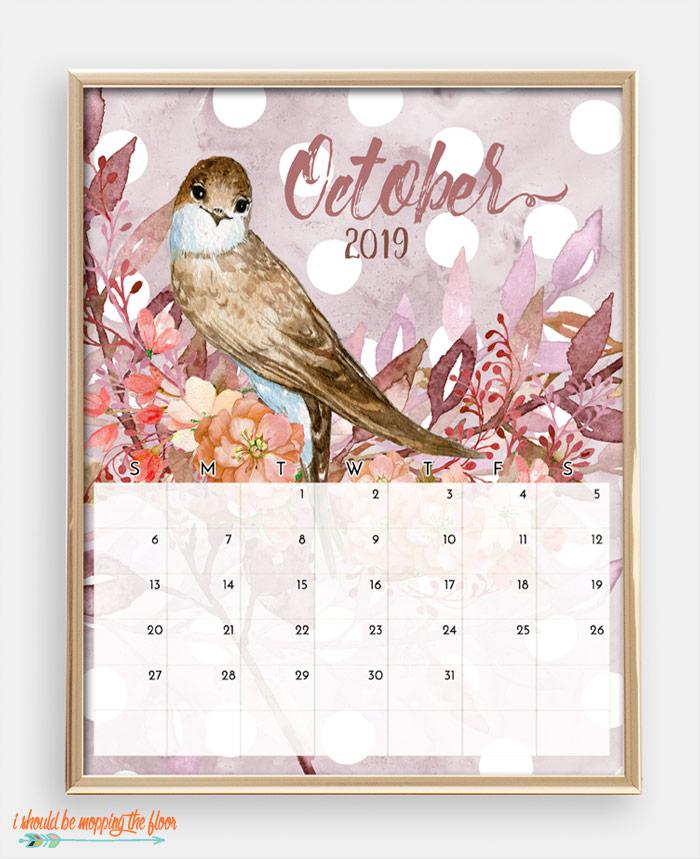 October Bird Calendar