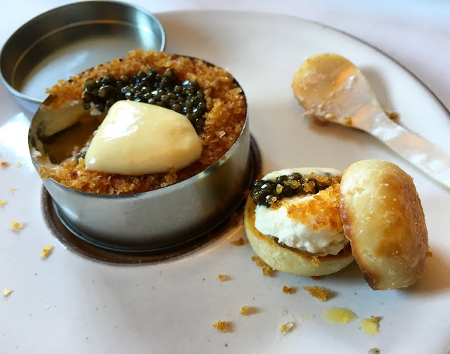 "Caviar ""Eggs Benedict"" with Miniature English Muffins"