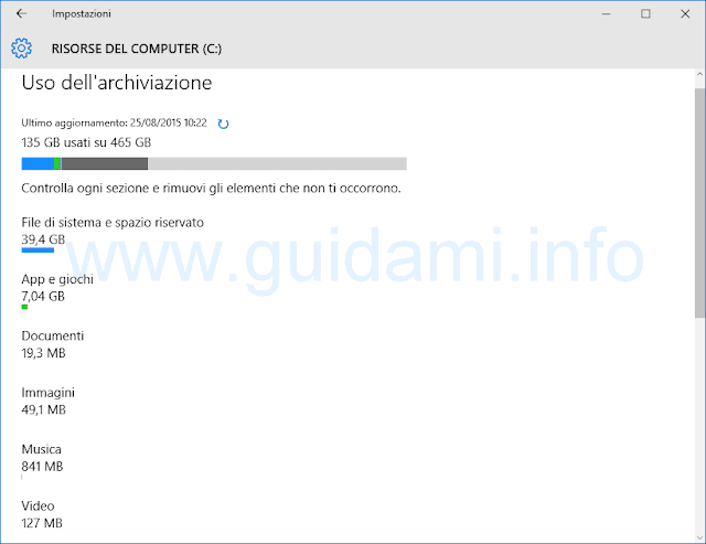 Uso dell'archiviazione Windows 10