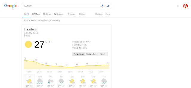 Search For Time And Weather - Google Search Tricks