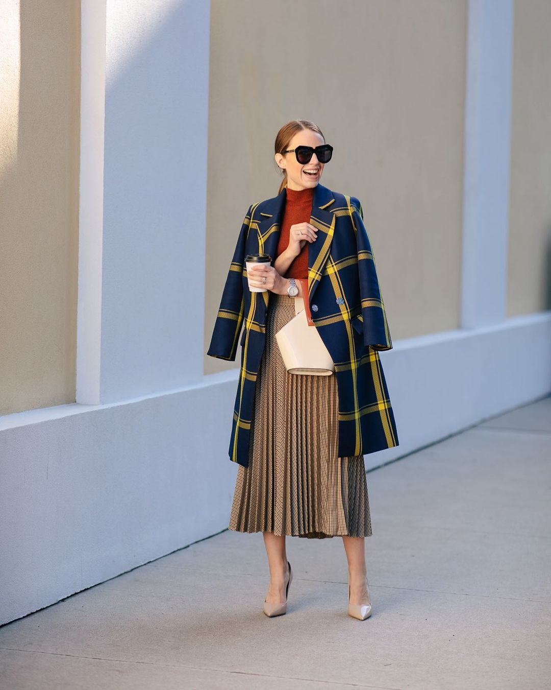 Plaid coat and pleated skirt
