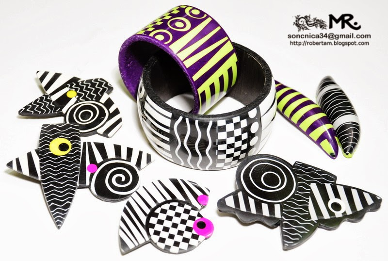 Roberta Mohar - graphic pattern brooches and bracelets - some items made after Donna Kato's class
